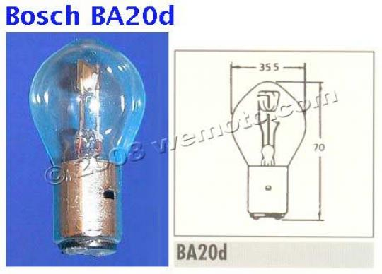 Picture of Headlight Bulb BA20D Bosch Fitting 6v 45/40W