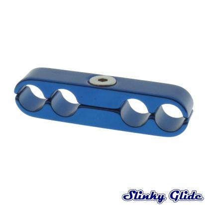 Picture of Motorcycle Cable and Hose Tidy / Clamp for 4 Cables - Blue - Slinky Glide