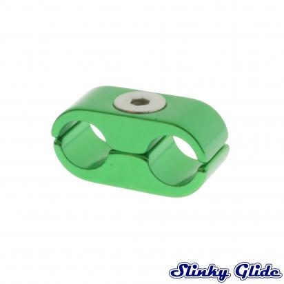 Picture of Motorcycle Cable and Hose Tidy / Clamp for 2 Cables - Green - Slinky Glide
