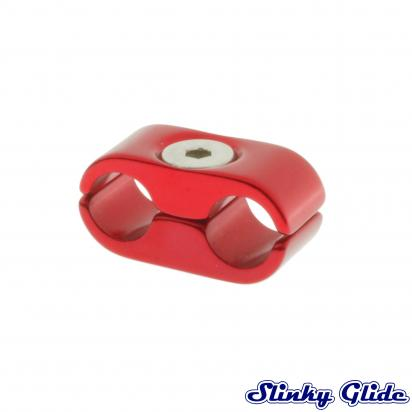 Picture of Motorcycle Cable and Hose Tidy / Clamp for 2 Cables - Red - Slinky Glide
