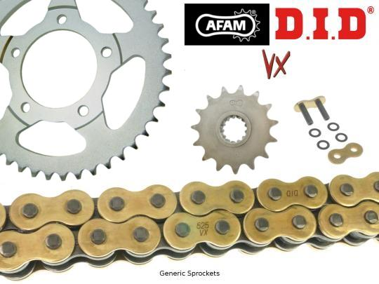 Picture of DID VX Heavy Duty X-Ring Gold and Black Chain and Afam Sprocket Kit