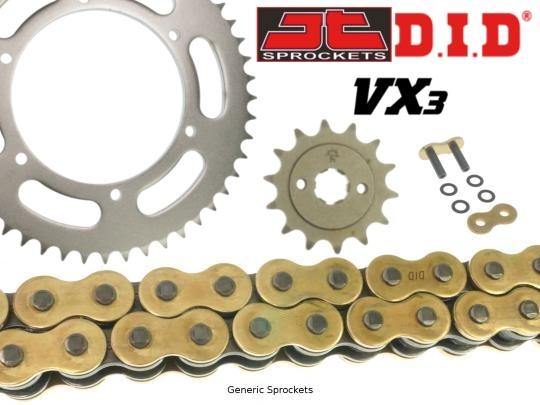 DID VX3 Heavy Duty X-Ring Gold and Black Chain and JT Sprocket Kit