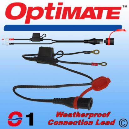 Picture of Battery Charger - Weatherproof Optimate Permanent Fixing Leads NEW STYLE CONNECTORS