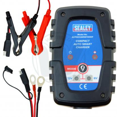 Picture of 6  & 12 Dual Volt Sealey Compact Battery Charger for Acid, AGM and Gel Batteries