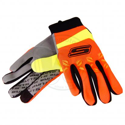 S-Line Motocross Gloves - Touch Screen Friendly - Medium - Orange and Fluo Yellow