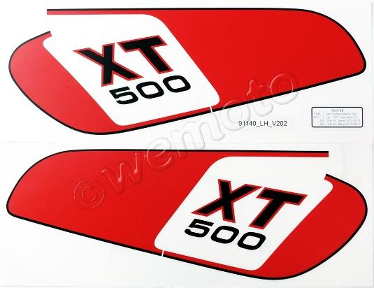 Decals Tank Yamaha XT500 1978 Red Panel