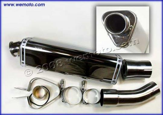 Picture of Exhaust Stainless Triangle Tailpipe & Connecting Pipe for 4T
