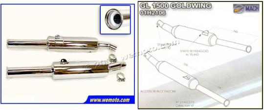 Picture of Marving Honda GL 1500 Goldwing Silencers - MASTER Line Semiconical - Chrome
