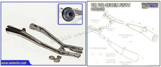 Picture of Marving Honda CB750 Seven Fifty Silencers - MASTER Line Semiconical - Chrome
