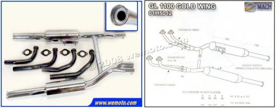 Picture of Marving Honda GL 1100 Goldwing Complete Exhaust - MASTER Line 4/2 - Chrome
