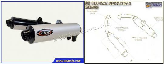 Picture of Marving Honda ST 1100 Pan European Silencers - Original Style - Black & Aluminuim