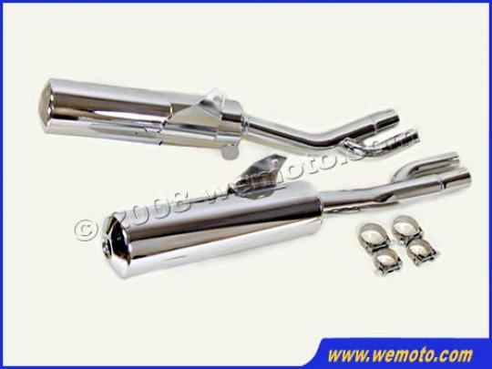 Picture of Marving Yamaha FZX 750 Silencers - Original Style - Chrome