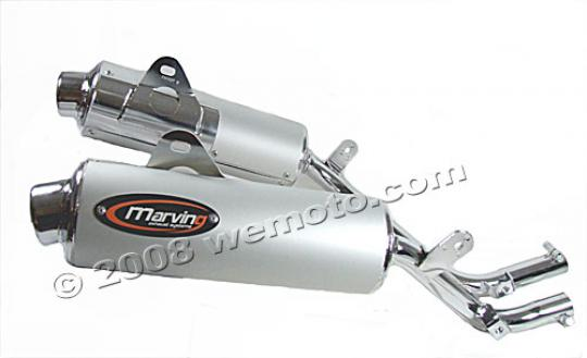 Picture of Marving Honda NX 650 Dominator Silencers - AMACAL Line - Chrome & Aluminium