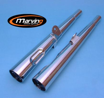 Picture of Marving Honda CB 250N CB400N Silencers - MARVI Line Conical - Chrome