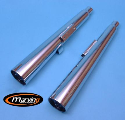 Picture of Marving Honda CM 400 C Custom Silencers - MARVI Line Conical - Chrome