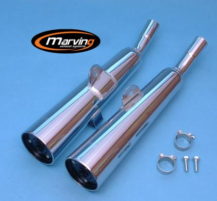 Picture of Marving Honda CM 125 C Silencers - MARVI Line Conical - Chrome