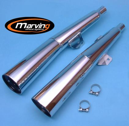 Picture of Marving Yamaha XJ 400 / 550 Silencers - MASTER Line Semiconical - Chrome