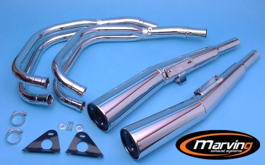 Picture of Marving Honda CB750 KZ Complete Exhaust - MASTER Line 4/2 - Chrome