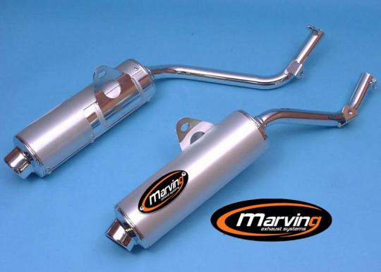 Picture of Marving Honda NX 650 Dominator 95 Silencers - AMACAL Line - Chrome & Aluminium