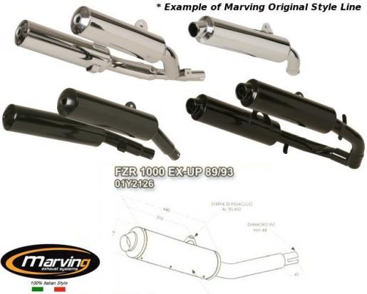 Picture of Marving Yamaha FZR 1000 EX-UP 89/93 Silencer - Original Style - Chrome & Aluminium