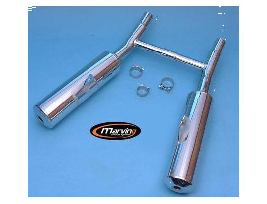 Picture of Marving Kawasaki EN500 Silencers - Original Style - Chrome