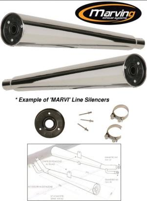 Picture of Marving Honda CB 750 C Custom Silencers - MARVI Line Conical - Chrome