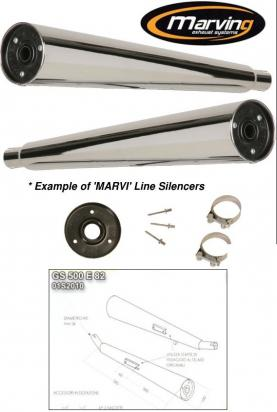 Picture of Marving Suzuki GS 500 E 82 Silencers - MARVI Line Conical - Chrome