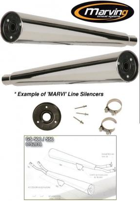 Picture of Marving Suzuki GS 500/550 Silencers - MARVI Line Conical - Chrome