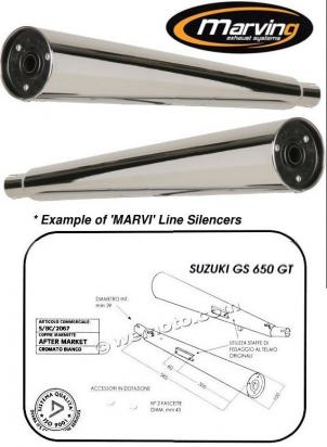 Picture of Marving Suzuki GS 650 GT Silencers - MARVI Line Conical - Chrome