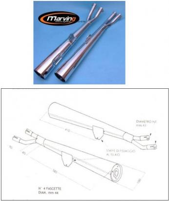Picture of Marving Suzuki GS 1000 Silencers - MARVI Line Conical - Chrome