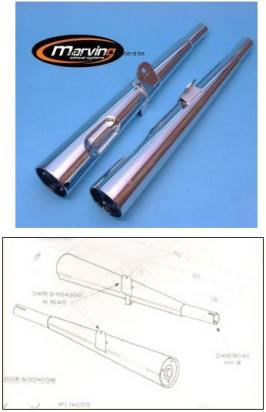 Picture of Marving Yamaha XS 400 Silencers - MARVI Line Conical - Chrome