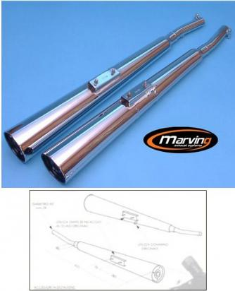 Picture of Marving Kawasaki Z650 F / Z750 Silencers - MARVI Line Conical - Chrome