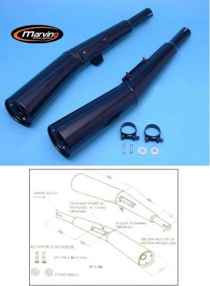Picture of Marving Honda CB900 F 82 Silencers - MASTER Line Semiconical - Black