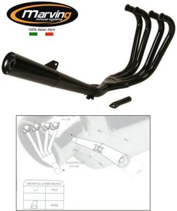 Picture of Marving Suzuki GSX 750 ES / EF Complete Exhaust - MASTER Line 4/1 - Black