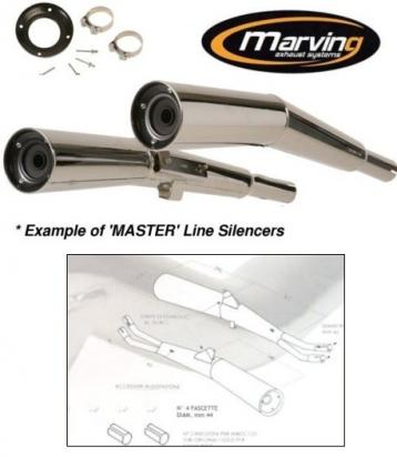 Picture of Marving Suzuki GSX 750/1100 E Silencers - MASTER Line Semiconical - Chrome