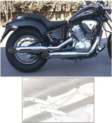 Picture of Marving Honda VT600 Custom Complete Exhaust - LEGEND Custom Line - Chrome 76mm