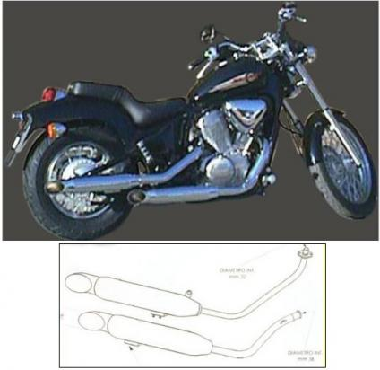 Picture of Marving Honda VT 600 Custom Complete Exhaust - LEGEND Custom Line - Chrome 89mm
