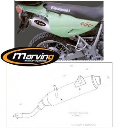 Picture of Marving Kawasaki KLR 650 Tengai Silencer - AMACAL Line - Chrome & Aluminium