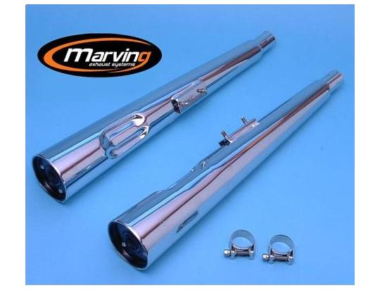 Picture of Marving Suzuki GS450 Silencers - MARVI Line Conical - Chrome