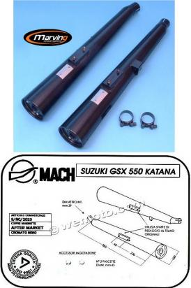 Picture of Marving Suzuki GS550 Katana Silencers - MARVI Line Conical - Black