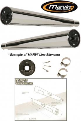 Picture of Marving Kawasaki Z400J Z500 Silencers - MARVI Line Conical - Chrome