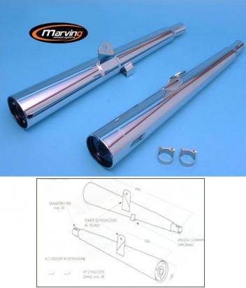Marving Kawasaki Z750 Zephyr Silencers - MARVI Line Conical - Chrome