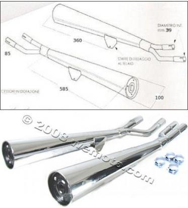Picture of Marving Suzuki GS 850 Cardano 79 Silencers - MARVI Line Conical - Chrome