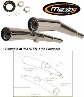 Picture of Marving Yamaha XJ750 Seca Silencers - MASTER Line Semiconical - Chrome