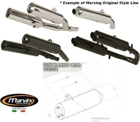 Picture of Marving Suzuki GSF 1200 Bandit 96/99 Silencer - Original Style - Chrome & Aluminium