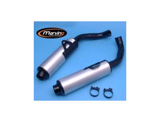 Picture of Marving Kawasaki GPX750 R Silencers - Original Style - Black & Aluminium
