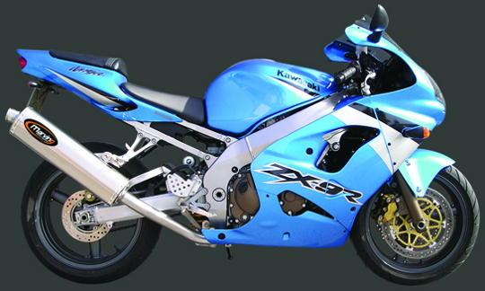Picture of Marving Kawasaki ZX 9R 9 02-03 Silencer - SUPERLINE Oval - Titanium