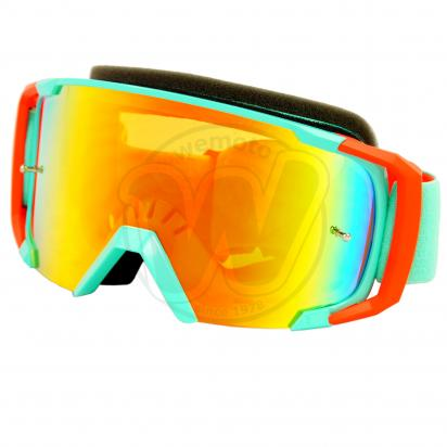 Goggles S-Line Off Road with Tearoff pins - Turquoise (Blue) / Orange with Iridium Screen