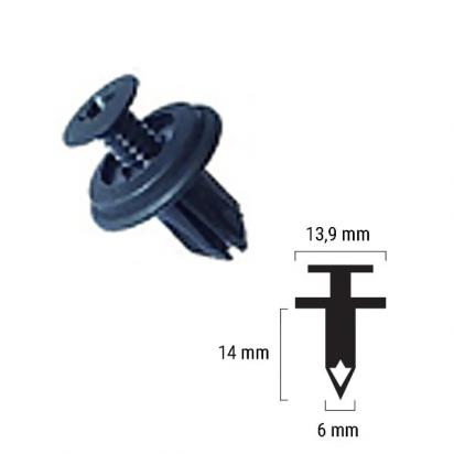 Picture of Body Clip / Plastic Rivet as Honda 90687-SB0-013 - 6mm - Height 14 mm Max width 13.9 mm