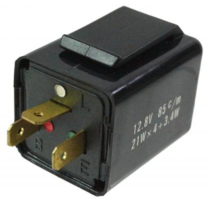 Flasher Relay 12V 3 Pin Black Plastic Electronic